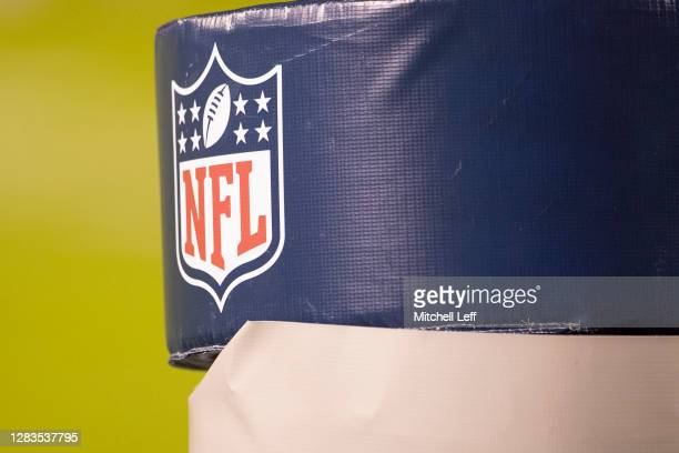 Detailed view of the NFL logo shield on the goalpost during the game between the Dallas Cowboys and Philadelphia Eagles at Lincoln Financial Field on...