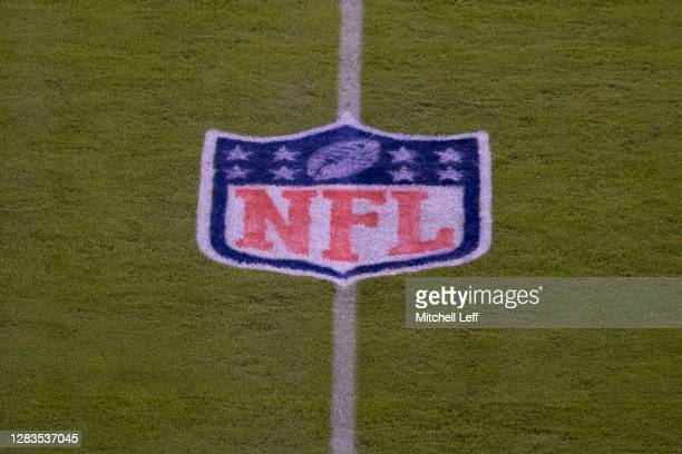 Detailed view of the NFL logo shield prior to the game between the Dallas Cowboys and Philadelphia Eagles at Lincoln Financial Field on November 1,...