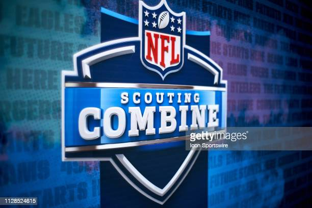Detailed view of the NFL Scouting Combine logo is seen during the NFL Scouting Combine on March 02, 2019 at the Indiana Convention Center in...