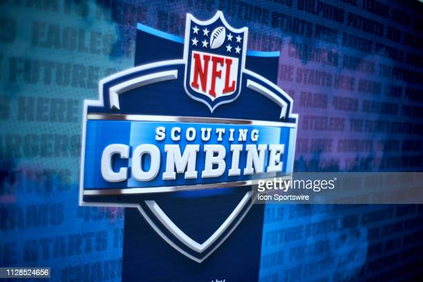 A detailed view of the NFL Scouting Combine logo is seen during the NFL Scouting Combine on March 02 2019 at the Indiana Convention Center in...