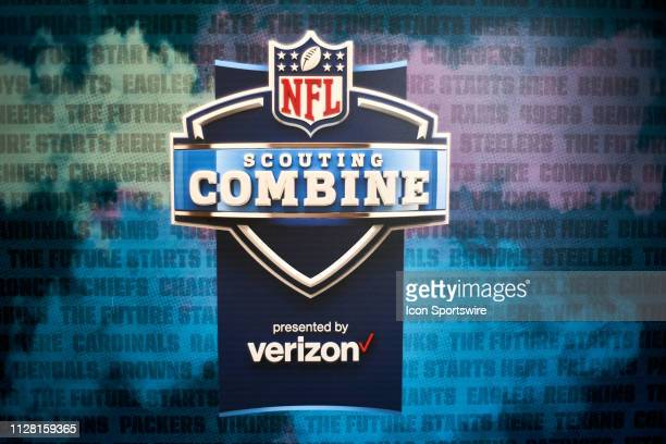 A detailed view of the NFL Scouting Combine presented by Verizon logo is seen during the NFL Scouting Combine on February 28 2019 at the Indiana...
