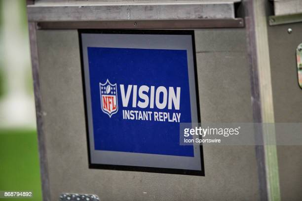 A detailed view of the NFL Vision Instant Replay logo is seen on the side of an equipment trunk during the NFL game between the Arizona Cardinals and...