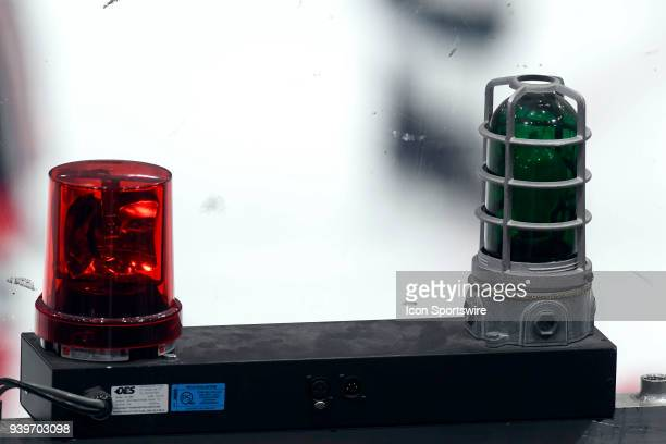A detailed view of the NHL goal lights are seen in action during a game between the Chicago Blackhawks and the San Jose Sharks on March 26 at the...