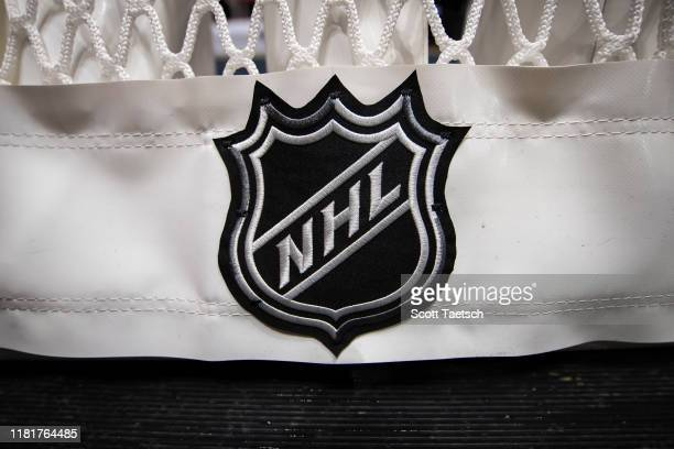 A detailed view of the NHL logo on the back of the goal netting before the game between the Washington Capitals and the Toronto Maple Leafs at...