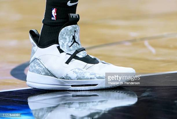 A detailed view of the Nike Air Jordan 33's basketball shoes worn by LaMarcus Aldridge of the San Antonio Spurs against the Sacramento Kings during...