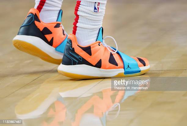 A detailed view of the Nike 'Air Jordan' basketball shoes worn by Chris Paul of the Houston Rockets against the Golden State Warriors during an NBA...