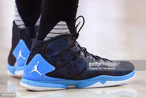 bf75a8361fbf4f A detailed view of the Nike Air Jordan basketball shoes worn by Kemba Walker  of the