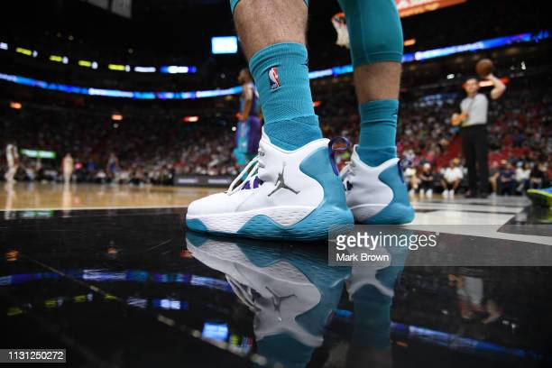 A detailed view of the Nike Air Jordan sneaker worn by Frank Kaminsky of the Charlotte Hornets in the second half against the Miami Heat at American...