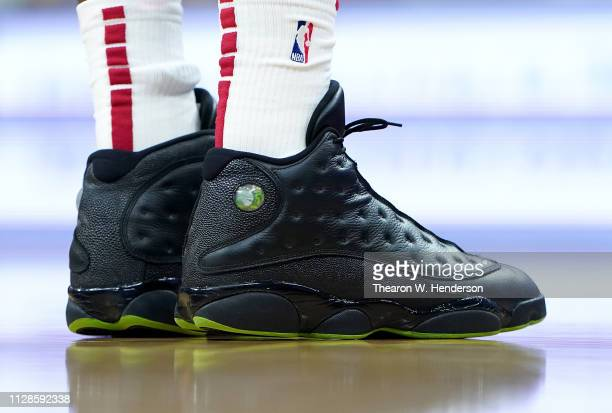 A detailed view of the Nike 'Air Jordan XIII's' basketball shoes worn by Bam Adebayo of the Miami Heat against the Sacramento Kings during an NBA...