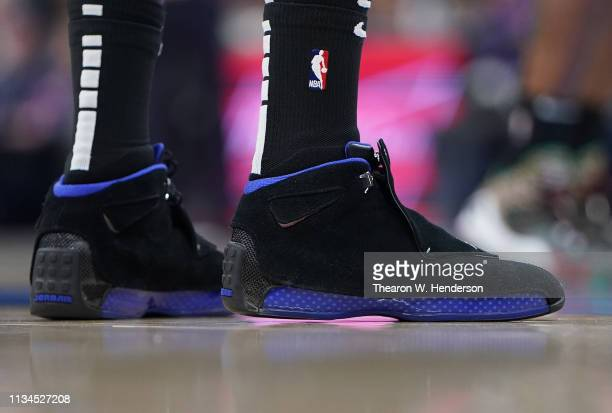 A detailed view of the Nike 'Air Jordan XVIII's' worn by JaMychal Green of the LA Clippers against the Sacramento Kings during an NBA Basketball game...
