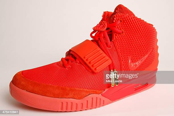 09b090a6b41b7 A detailed view of the Nike Air Yeezy 2 Red October sneaker on February 27  2014