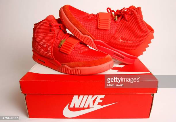 A detailed view of the Nike Air Yeezy 2 Red October sneaker on February 27 2014 in New York City The Kanye West collaboration is presently reselling...
