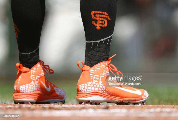 A detailed view of the Nike Baseball cleats with the first names of wife Maria and son Steel on the back of them worn by Andrew McCutchen of the San...