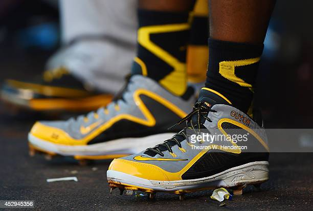 A detailed view of the Nike Baseball cleats worn by Andrew McCutchen of the Pittsburgh Pirates against the San Francisco Giants at ATT Park on July...