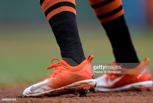 A detailed view of the Nike baseball cleats worn by Hunter Pence of the San Francisco Giants against the Arizona Diamondbacks in the bottom of the...