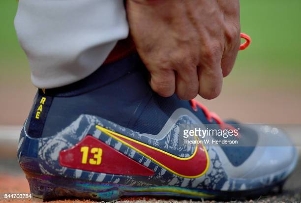A detailed view of the Nike baseball cleats worn by Matt Carpenter of the St Louis Cardinals against the San Francisco Giants in the top of the first...