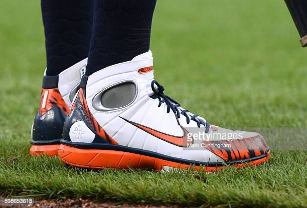 A detailed view of the Nike baseball shoes worn by Cameron Maybin of the Detroit Tigers while waiting ondeck to bat during the game against the Los...