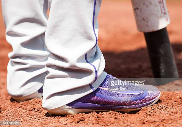 A detailed view of the Nike baseball shoes worn by Carlos Gonzalez of the Colorado Rockies during the game against the Pittsburgh Pirates at PNC Park...