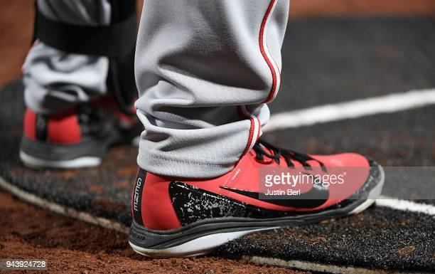 A detailed view of the Nike Baseball shoes worn by Eugenio Suarez of the Cincinnati Reds during the game against the Pittsburgh Pirates at PNC Park...