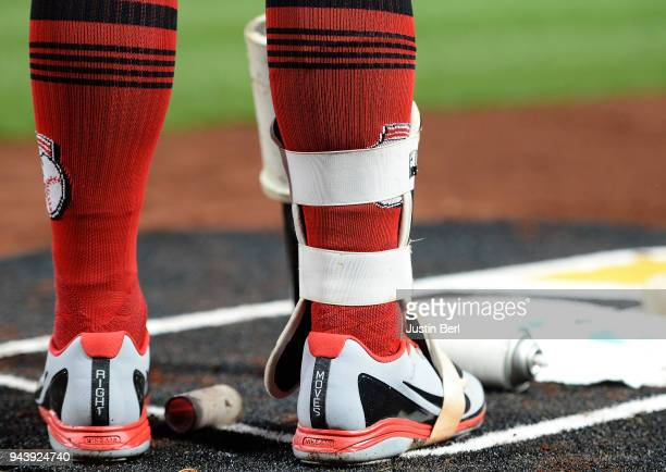 A detailed view of the Nike Baseball shoes worn by Jesse Winker of the Cincinnati Reds during the game against the Pittsburgh Pirates at PNC Park on...
