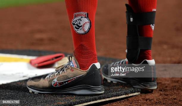 A detailed view of the Nike Baseball shoes worn by Joey Votto of the Cincinnati Reds during the game against the Pittsburgh Pirates at PNC Park on...