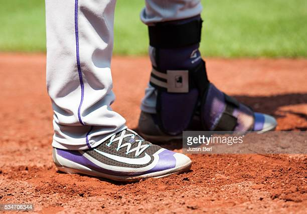 A detailed view of the Nike baseball shoes worn by Nolan Arenado of the Colorado Rockies during the game against the Pittsburgh Pirates at PNC Park...