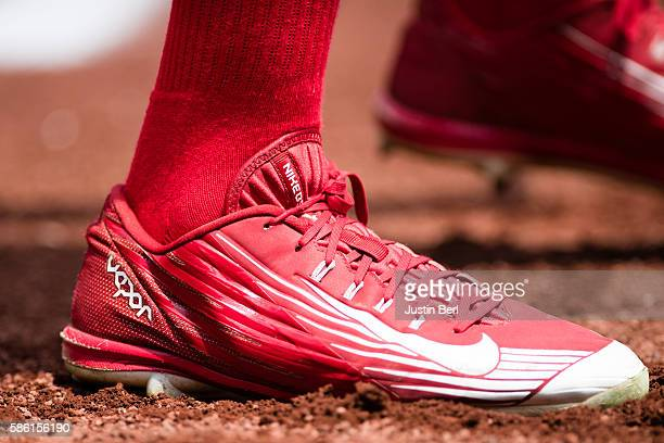 A detailed view of the Nike baseball shoes worn by Peter Bourjos of the Philadelphia Phillies during the game against the Pittsburgh Pirates at PNC...