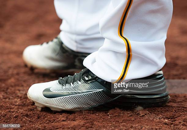 A detailed view of the Nike baseball shoes worn by Ryan Vogelsong of the Pittsburgh Pirates during the game against the Colorado Rockies at PNC Park...