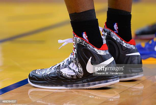 A detailed view of the Nike basketball shoe worn by Chris Bosh of the Miami Heat against the Golden State Warriors at ORACLE Arena on February 12...