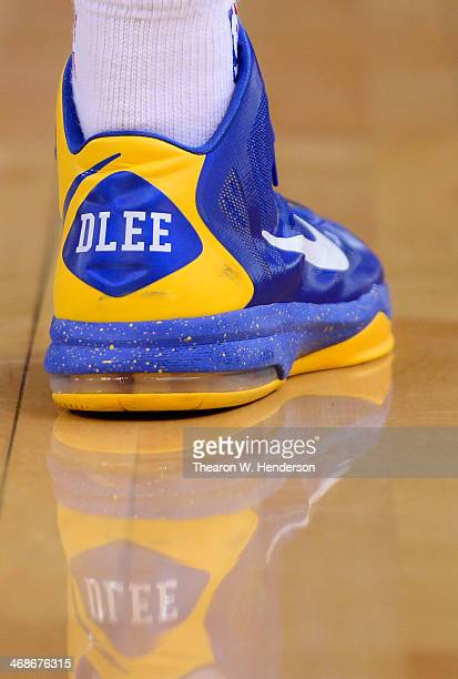 A detailed view of the 'Nike' basketball shoe worn by David Lee of the Golden State Warriors against the Philadelphia 76ers at ORACLE Arena on...