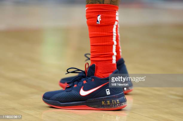 A detailed view of the Nike basketball shoes worn by Bradley Beal of the Washington Wizards during the first half against the Sacramento Kings at...