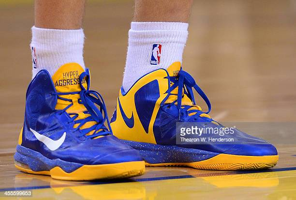 A detailed view of the Nike basketball shoes worn by David Lee of the Golden State Warriors against the Dallas Mavericks at ORACLE Arena on December...