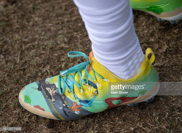 A detailed view of the Nike cleat of Kenyan Drake of the Miami Dolphins in action during Miami Dolphins Training Camp at Baptist Health Training...