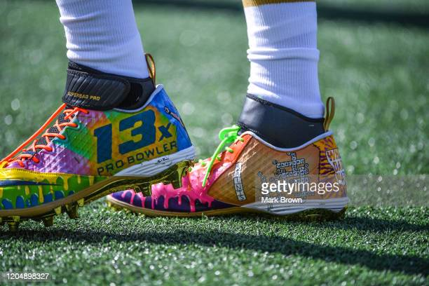A detailed view of the Nike cleats worn by Drew Brees of the New Orleans Saints during the 2020 NFL Pro Bowl at Camping World Stadium on January 26...