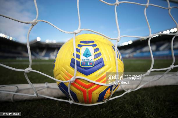 Detailed view of the Nike flight HI-Vis match ball ahead of the Serie A match between Atalanta BC and SS Lazio at Gewiss Stadium on January 31, 2021...