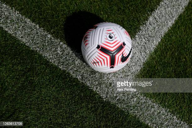 Detailed view of The Nike Flight Premier League Football For 2020/21 Season at Loughborough University Stadium on August 03, 2020 in Loughborough,...