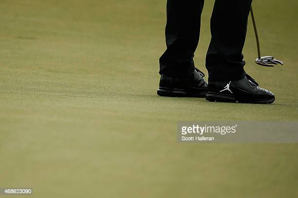 Detailed view of the Nike golf cleats worn by Keegan Bradley during the third round of the Shell Houston Open at the Golf Club of Houston on April 4...