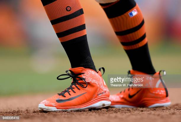 A detailed view of the Nike Huarache Baseball cleats worn by Andrew McCutchen of the San Francisco Giants against the Arizona Diamondbacks in the...