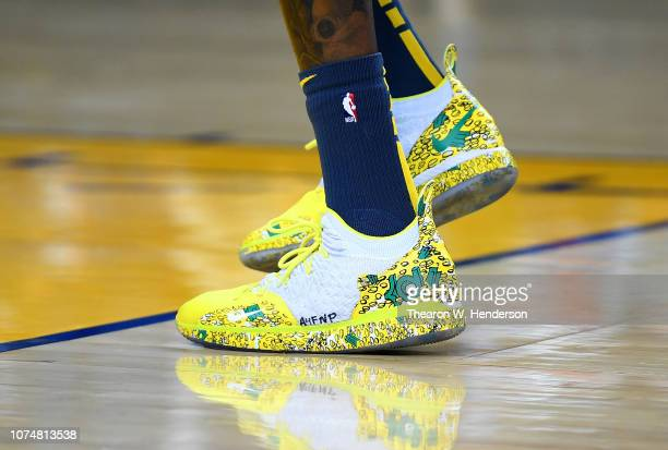 A detailed view of the Nike KD basketball shoes worn by Kevin Durant of the Golden State Warriors while warming up prior to the start of an NBA...