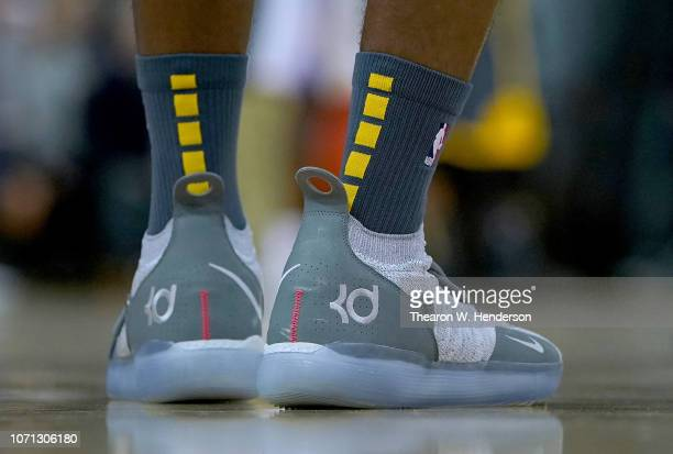 A detailed view of the Nike Kd's basketball shoes worn by Damian Jones of the Golden State Warriors against the Oklahoma City Thunder during an NBA...