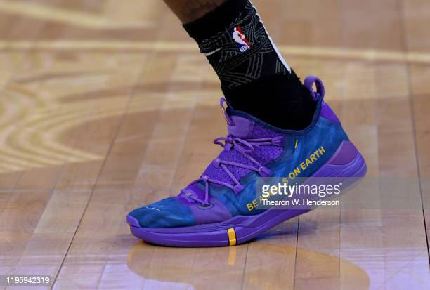 A detailed view of the Nike Kobe basketball shoes worn by Glenn Robinson III of the Golden State Warriors while warming up prior to the start of an...