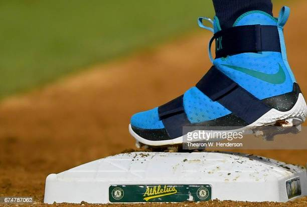 824d7affe7d A detailed view of the Nike LeBron James Soldiers 10 baseball cleats worn  by Nelson Cruz