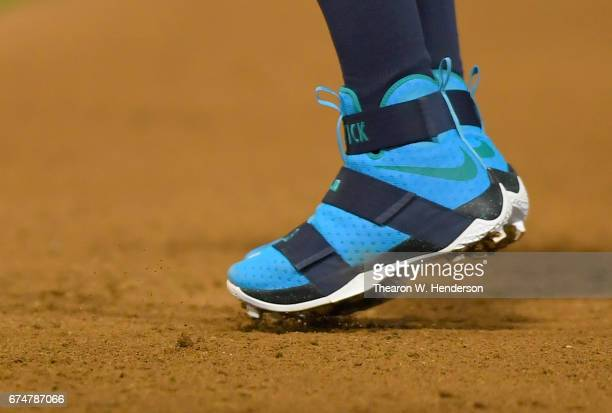 promo code 23c1d 5e98c A detailed view of the Nike LeBron James Soldiers 10 baseball cleats...  News Photo - Getty Images