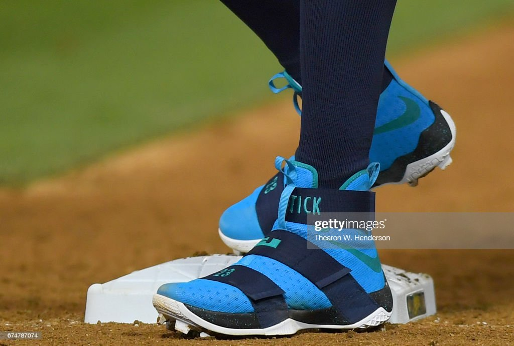 ff34c66b10a A detailed view of the Nike LeBron James Soldiers 10 baseball cleats ...