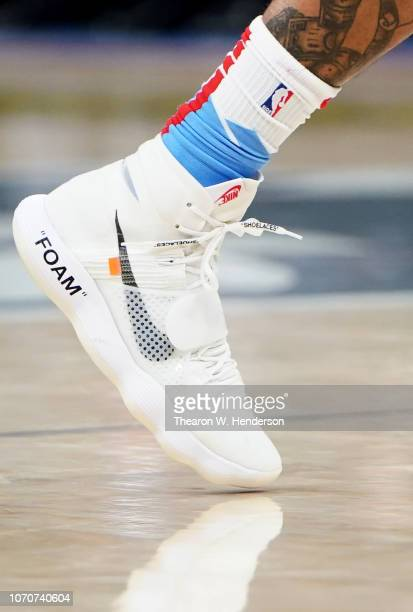 A detailed view of the Nike Off White Basketball shoe worn by Willie CauleyStein of the Sacramento Kings against the Oklahoma City Thunder during an...