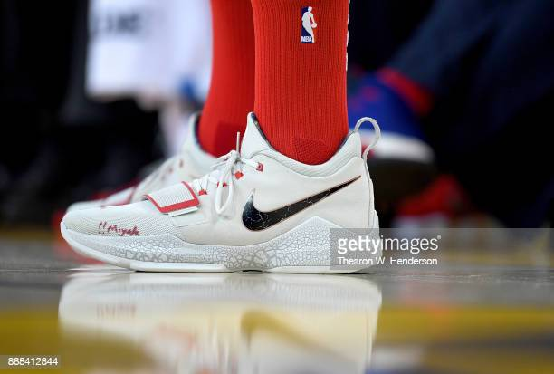 A detailed view of the Nike PG1 basketball shoes worn by John Wall of the Washington Wizards against the Golden State Warriors during their NBA...