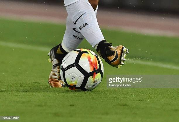 A detailed view of the Nike shoes worn by Yuto Nagatomo of FC Internazionale with the official ball Nike of the Serie A season 201718 during the...