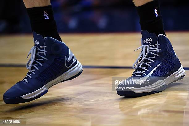 Detailed view of the Nike sneakers worn by Dirk Nowitzki of the Dallas Mavericks during a game against the New Orleans Pelicans at the Smoothie King...