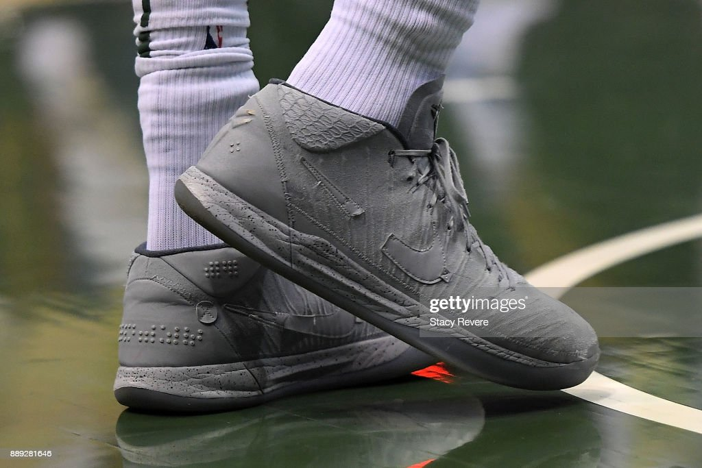 A detailed view of the Nike sneakers worn by Giannis Antetokounmpo #34 of the Milwaukee Bucks during a game against the Detroit Pistons at the Bradley Center on December 6, 2017 in Milwaukee, Wisconsin.