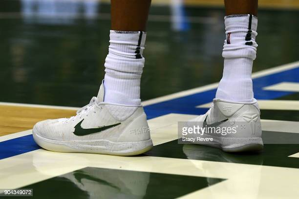 A detailed view of the Nike sneakers worn by Giannis Antetokounmpo of the Milwaukee Bucks during a game against the Orlando Magic at the Bradley...